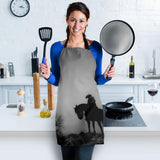 Lonely Cowboy in Mist Custom Apron- Black and White Designer Apron - Exclusively Licensed Artwork - For Men and Women - One Size Fits All