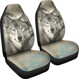 Blue Eyed Wolf Car Seat Covers - Grey and Blue - Fits most car and SUV bucket style seats