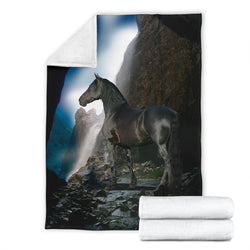 Black Stallion Horse Waterfall Fleece Blanket - Black and White TV Blanket - Exclusively Licensed Artwork - 3 Sizes - Youth, Large, X-Large