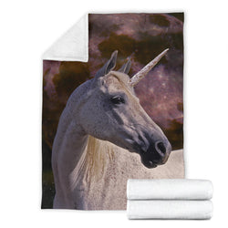 Flea Bitten Gray Unicorn Fleece Blanket – Purple Grey TV Blanket - Exclusively Licensed Artwork - 3 Sizes - Youth, Large, X-Large