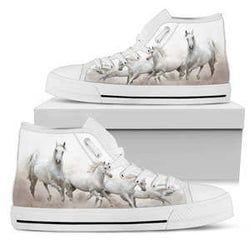 Women's White Lipizzaner Horse Lover's Sneakers Footwear - White Horses on Converse High Tops Style - White Canvas Shoe with White Sole