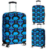 Blue and Black Midnight Lake Bear Luggage Cover