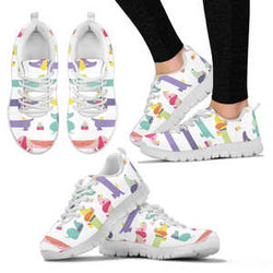 Women's Adorable Dachshund Sneakers - Sketcher Shoes Style with Pink and Lavender Dogs on a White Shoe
