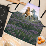 Women's Palomino and White Horse Custom Apron - Lavender White Beige Designer Apron - Exclusively Licensed Artwork - One Size Fits All