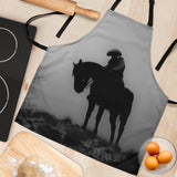 Lonely Cowboy Custom Apron- Black and White Designer Apron - Exclusively Licensed Artwork - For Men and Women - One Size Fits All
