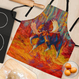 Imminent Charge Moose Custom Apron - Red, Brown and Orange Designer Apron - Exclusively Licensed Artwork - One Size Fits All