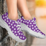 Paw Print Purple Chunky Sneakers - Purple Shoe with White Paw Prints and White Sole