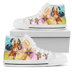 Women's Watercolor Giraffe High Top Shoes