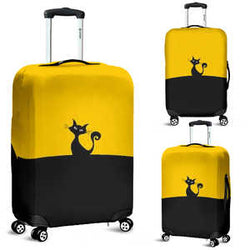Yellow and Black Kitty Cat Silhouette Luggage Cover - Sizes Small, Medium and Large