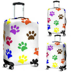 Colorful Paws Luggage Cover for Dog and Cat Lovers