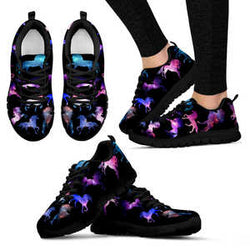 Magical Unicorn Sneakers - Sketcher Shoes Style with Purple and Pink Horses on a Black Shoe