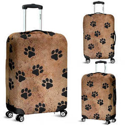 Rustic Brown and Black Paws Luggage Cover for Dog and Cat Lovers - Sizes Small, Medium and Large