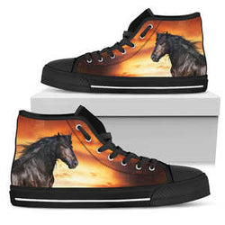 Women's Striking Black Stallion Horse Sneakers Footwear - Black Horse  Orange Converse High Tops Style - Black Sole