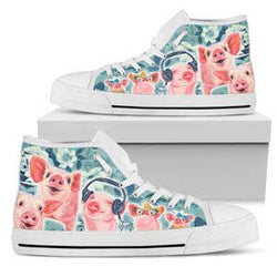 Women's Watercolor Pig High Top Sneakers