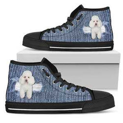 Women's Denim Poodle Lover's Sneakers Footwear - Cute White Dog on Converse High Tops Style Denim Look Canvas Shoe with Black Sole