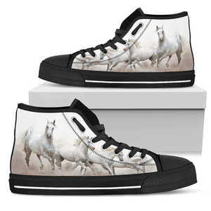 Women's White Lipizzaner Horse Lover's Sneakers Footwear - White Horses on Converse High Tops Style - White Canvas Shoe with Black Sole