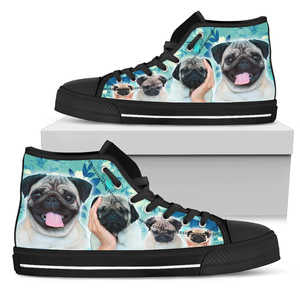 Women's Blue Pug Lover's High Top Sneakers - Converse High Tops Style Turquoise Shoe with Black Sole