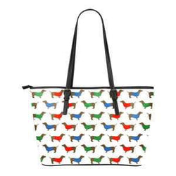 Dachshund Zipper Tote - Large Tote Bags - Colorful Dogs on White Tote