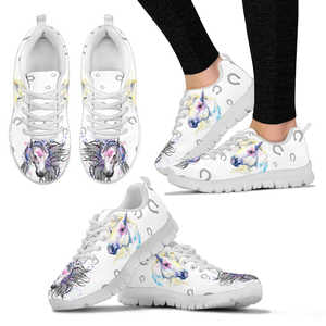 Women's Artistic Watercolor Horse Sneakers - Sketcher Shoes Style with Multicolor Horses on a White Shoe