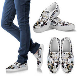Womens Adorable Black and White Dog Slip-On Sneakers Footwear- Vans Shoes Style - Classic White and Grey