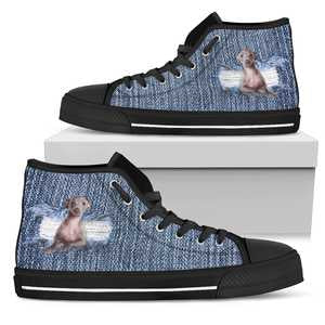 Women's Denim Greyhound Lover's Sneakers Footwear - Cute Puppy on Converse High Tops Style Denim Look Canvas Shoe with Black Sole