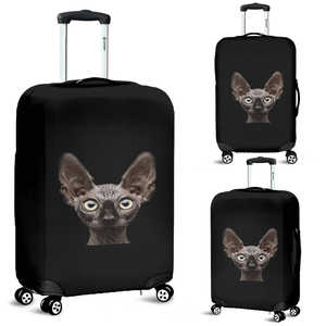 Black on Black Bat Eared Kitty Cat Luggage Cover - Sizes Small, Medium and Large