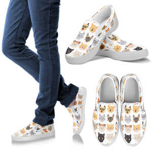 Women's Adorable Black and White Cat Slip-On Sneakers Footwear- Vans Shoes Style - Classic White and Grey