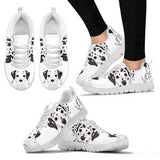 Women's Adorable Dalmatian Dog Sneakers Footwear - Sketcher Shoes Style with Black and White Dog on a White Shoe