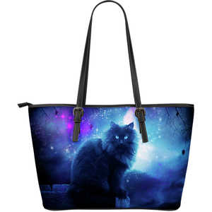 Large Black Cat Leather Tote - Blue, Purple and Black Handbag