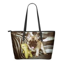 Leather French Bulldog Tote