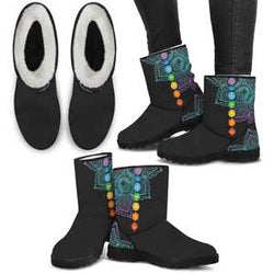 Women's Handcrafted Spiritual Chakra Mandala Ugg Style Boots - Black - Faux Fur Boots