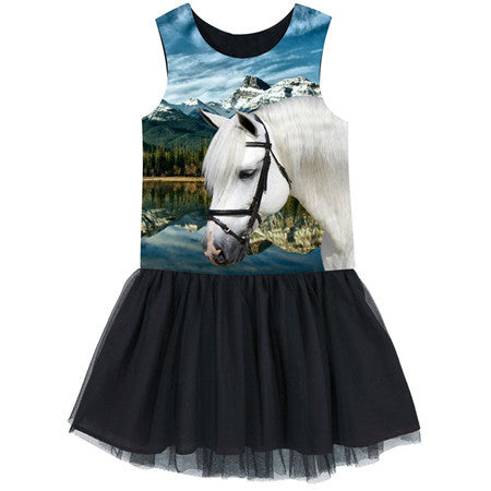 Adorable White Horse Dress - a Favorite of Children Ages 2 - 10 Years Old