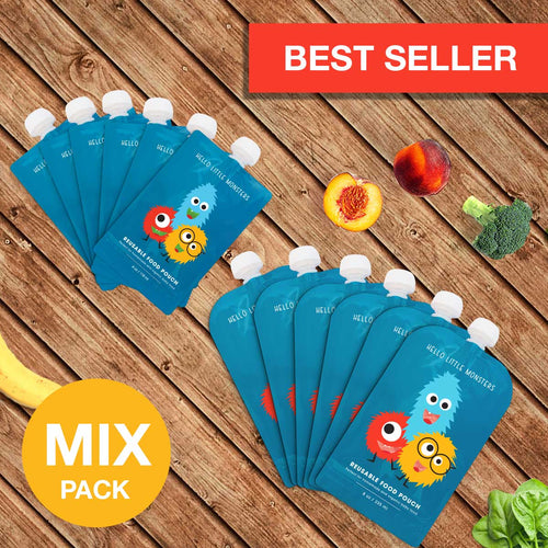 MIX PACK - Reusable Squeeze Baby Food Pouch (12 pcs) - SAVE - 50%