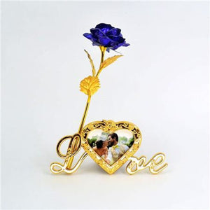 24K Gold Foil Plated Rose Love Stand Frame With Personalized Engravement - Blue