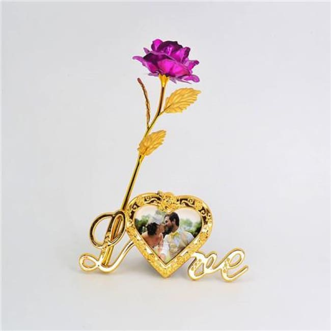 24K Gold Foil Plated Rose Love Stand Frame With Personalized Engravement - Fuchsia