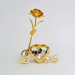 24K Gold Foil Plated Rose Love Stand Frame With Personalized Engravement - Golden