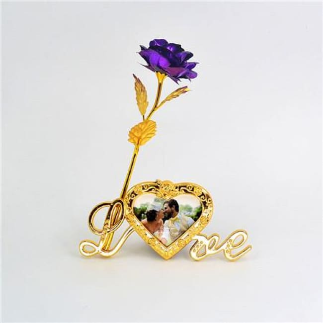 24K Gold Foil Plated Rose Love Stand Frame With Personalized Engravement - Purple
