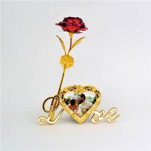 24K Gold Foil Plated Rose Love Stand Frame With Personalized Engravement - Red