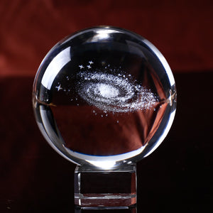 3D Galaxy Quartz Crystal Ball