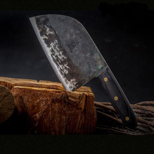 Handmade Multipurpose Serbian Chef's Knife with Vintage Wood Handle
