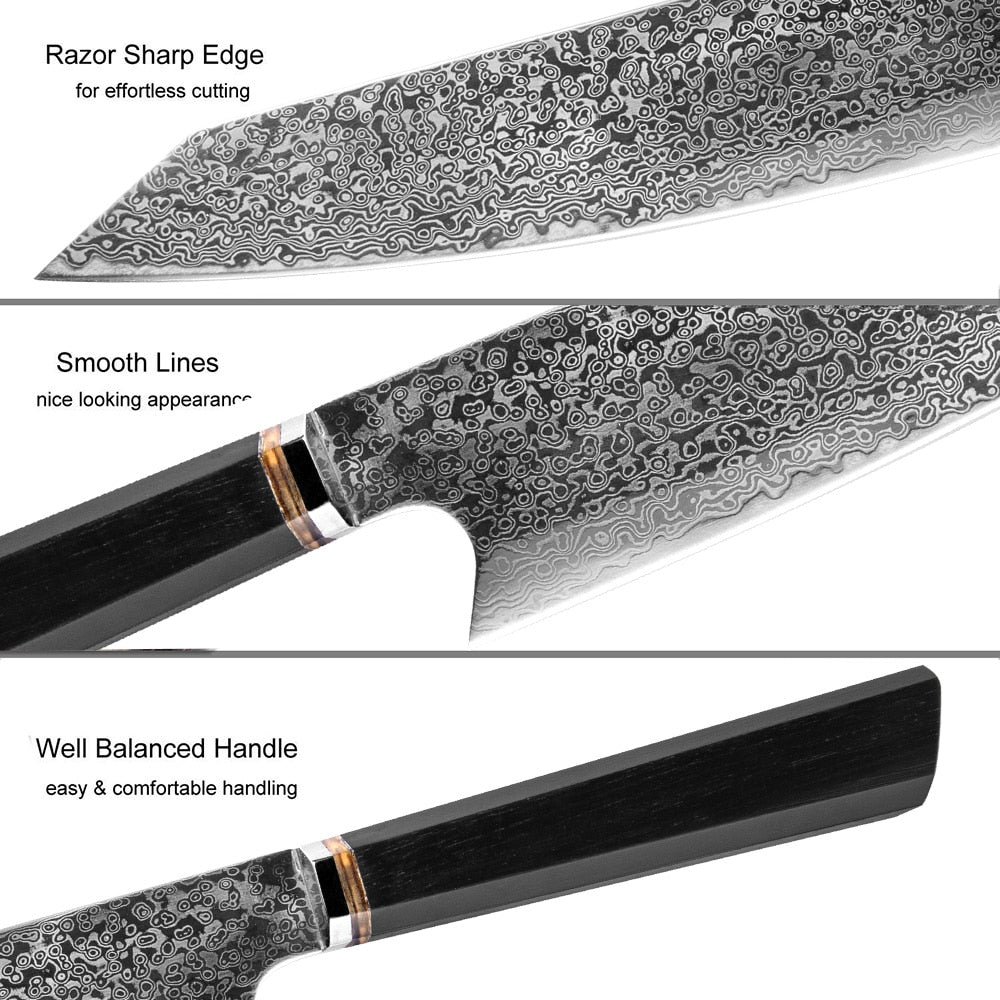8 Inch Handmade Kiritsuke Damascus Steel 67 Layer Knife