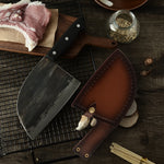 Handmade High Carbon Steel Cleaver Knife with Leather Sheath