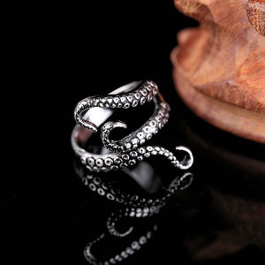 Adjustable Titanium Gothic Octopus Ring