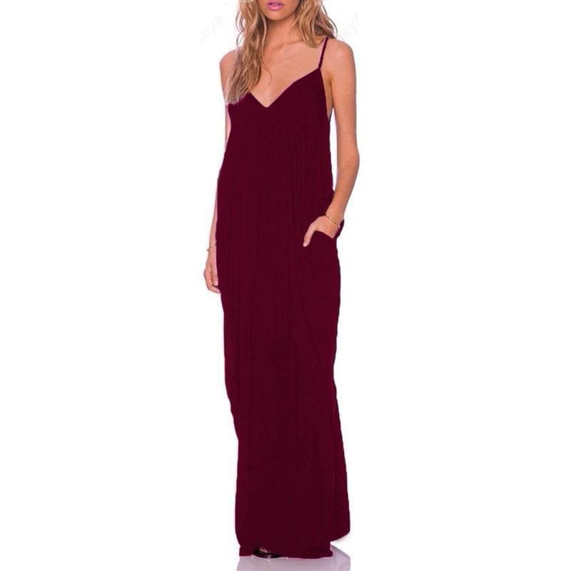 Anthea - Boho Maxi Dress - Claret / Xs - Dresses