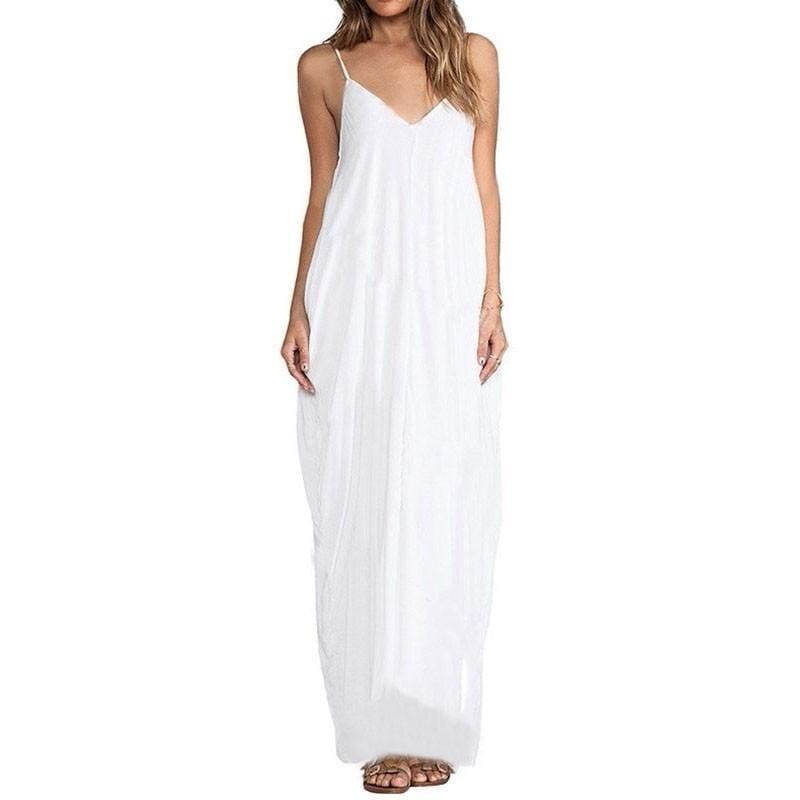 Anthea - Boho Maxi Dress - White / Xs - Dresses