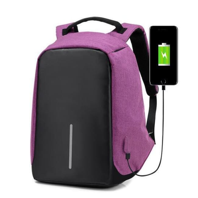 Anti-Theft Travel Backpack - Purple