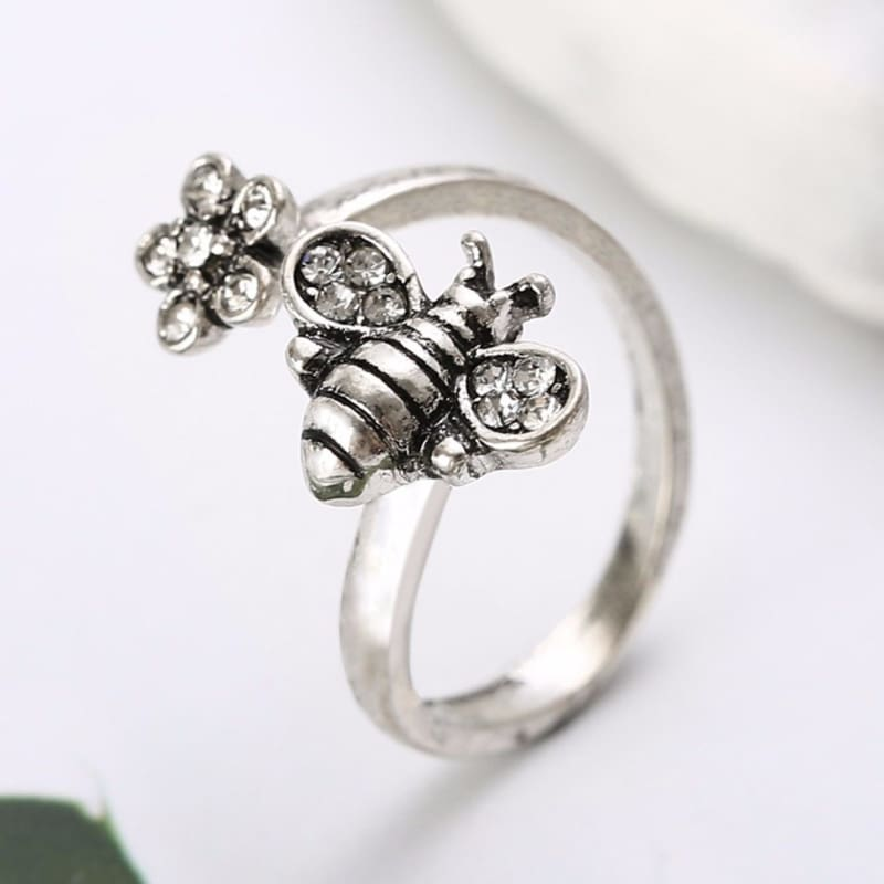 Bee And Flower Metal Ring