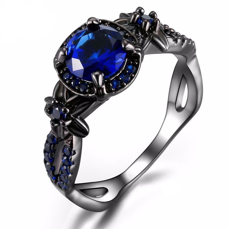 Blue Flower Gem Ring