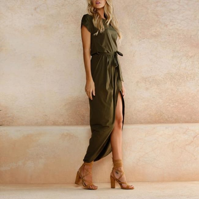 Casual Tunic Dress - Army Green / S - Dresses