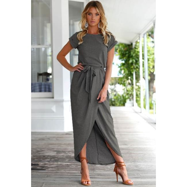 Casual Tunic Dress - Dark Grey / S - Dresses